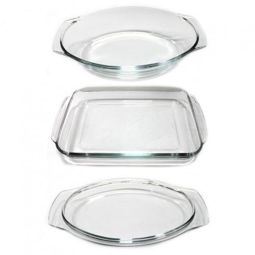 Pyrorey Oval Cassarole with Lid & Rectangular Dish Bundle Promotion