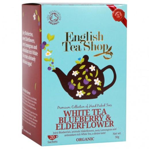 English Tea Shop White Tea with Blueberry & Elderflower Organic Tea 20 Sachets (30 g)
