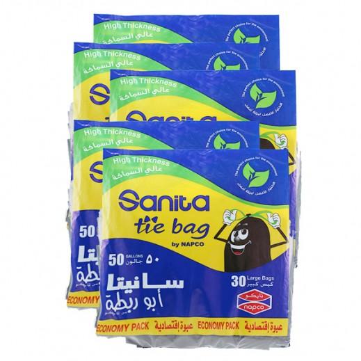 Wholesale - Sanita Tie Bags Large 50 Gallons (5 x 30 Pieces)