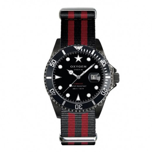Oxygen Diver Moby Dick Black Watch For Unisex Black/Red EX-D-MBB-40