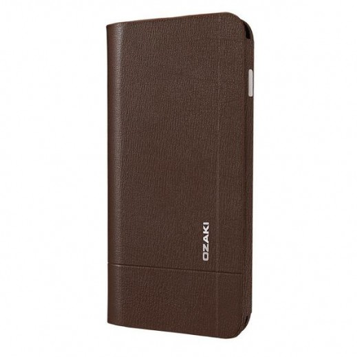 Ozaki Leather Folio Case Two Pockets For Iphone 6 Brown