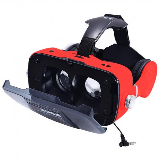 VR BOSS 3D Integrate Visual & Audition VR Headset with Mic - Red