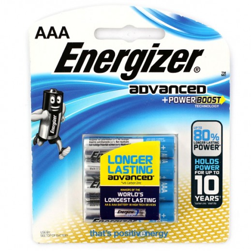 Energizer Advanced Alkaline AAA Battery 4 Pack