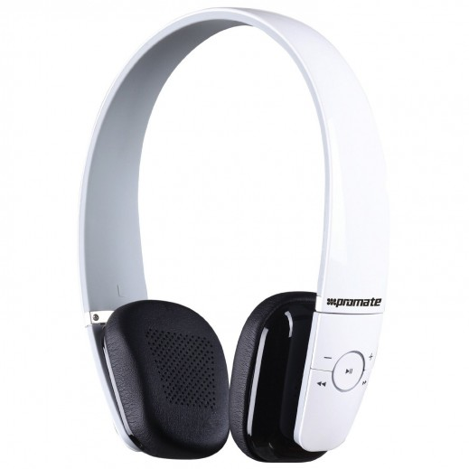 Promate Action Ultra Compact On-Ear Stereo Headphones White