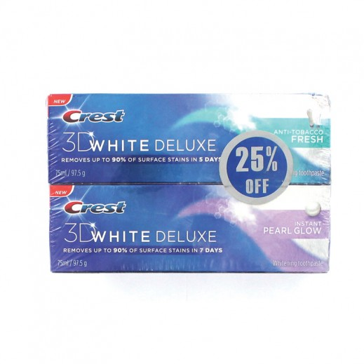 Crest 3D White Deluxe Toothpaste 2x75 ml (25% off) Prom