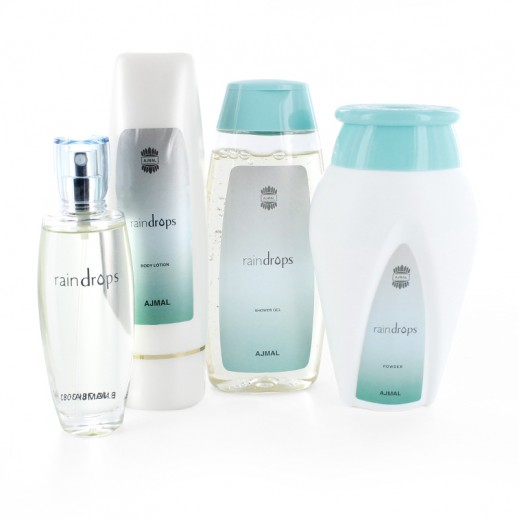 Ajmal Raindrop Gift Set For Her (Perfume + Powder + Lotion + Shower Gel)