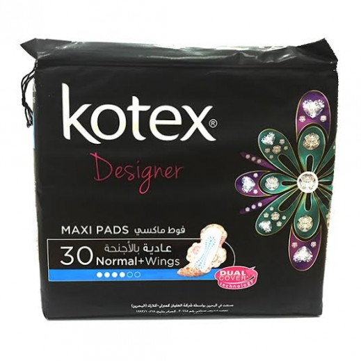 Kotex Designer Maxi Pads Normal With Wings 30s
