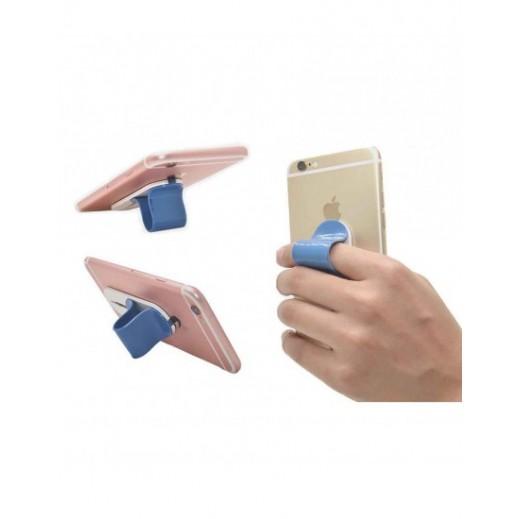 Multi Band Finger Grip Self Standing & Car Holder Blue