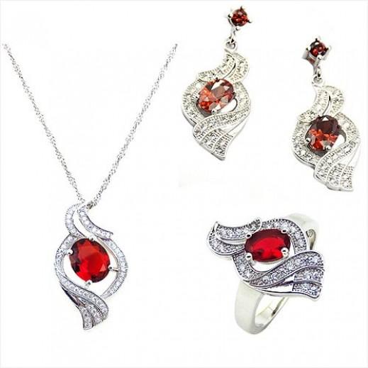 Yemma 925 Sterling Silver Cubic Zirconia Jewelry Set 11.28 g