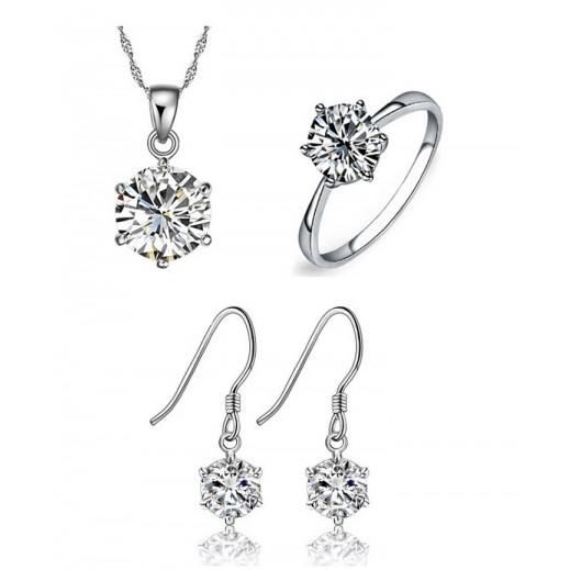 Yemma Pure 925 Sterling Silver Zirconia Luxury Jewellery Set