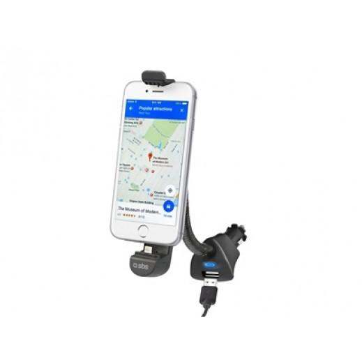 SBS Car Holder Charger with Lightning Connector & USB Port Black