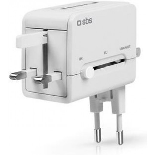 SBS Universal USB Travel Adapter White