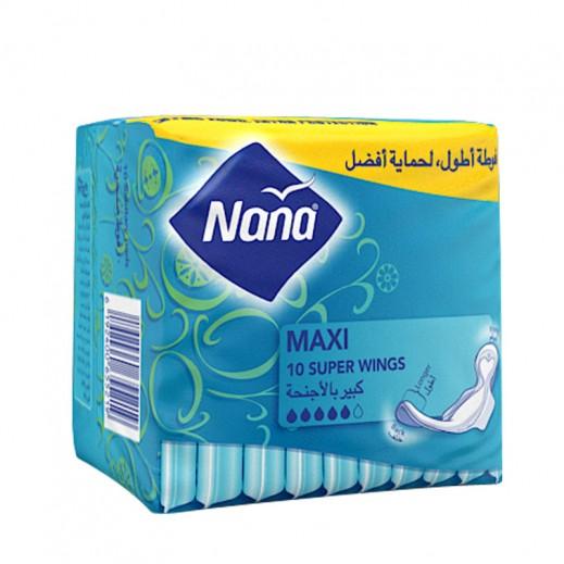"""نانا – فوط صحية """" ماكسي """" حجم كبير بالأجنحة 10 حبة"""