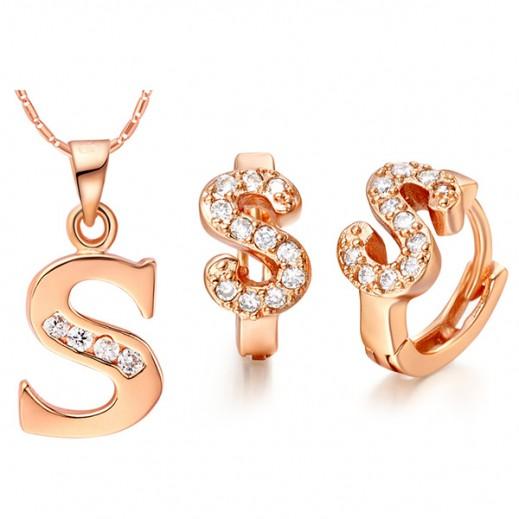 """نيسكون - طقم مجوهرات بتصميم حرف """"S"""" مطلي بالذهب عيار 18 ومرصع بأحجار الزركون موديل M00843"""