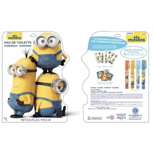 """حقيبة """"مينونز"""" للأطفال (عطر 9.5 مل + قلم عطر + إشارة مرجعية للكتب + ملصقات)"""