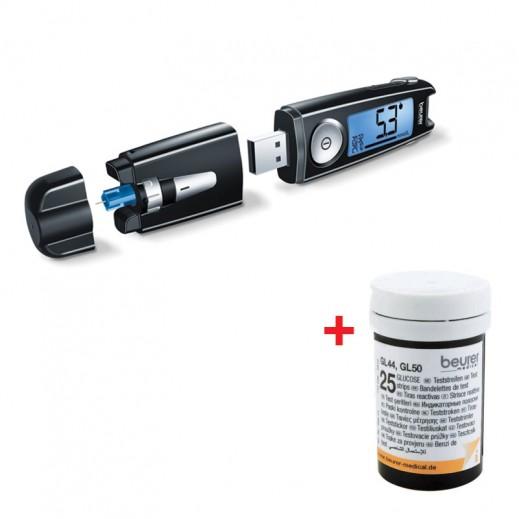 بيورير – جهاز GL50 لقياس السكر في الدم + 50 شريط إختبار