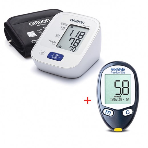 """أبوت – جهاز """" فري ستايل فريدوم لايت """" لقياس نسبة السكر في الدم + أومرون – جهاز """" M2 """" لقياس ضغط الدم من أعلى الذراع"""