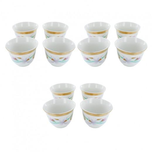 طقم فناجين قهوة عربية 12 قطعة مزخرفة بالورد الوردي (صناعة يابانية)
