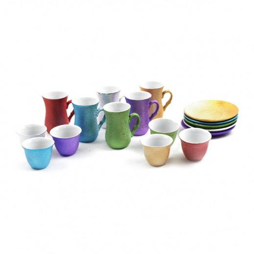 طقم فناجين قهوة واستكانة ملونة من البورسلان 12 قطعة