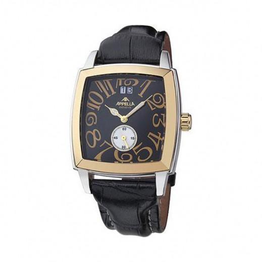 أبيلا – ساعة يد سويسرية للرجال بحزام جلدي أسود وهيكل ذهبي (AP-625.02.0.1.04)