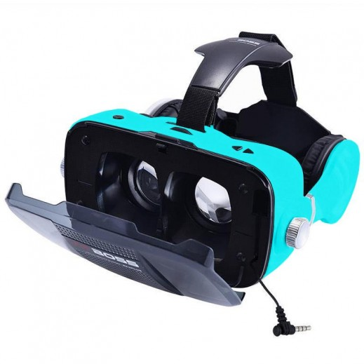 VR BOSS 3D Integrate Visual & Audition VR Headset with Mic - Blue