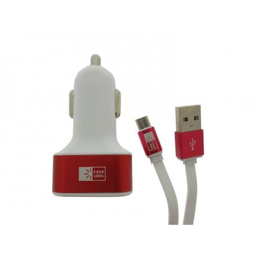شاحن سيارة CASE LOGIC متعدد التوافق 3 منافذ USB قدرة عالية  احمر