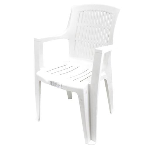 بروجاردن – كرسي بلاستيك مع مسند ذراع – أبيض