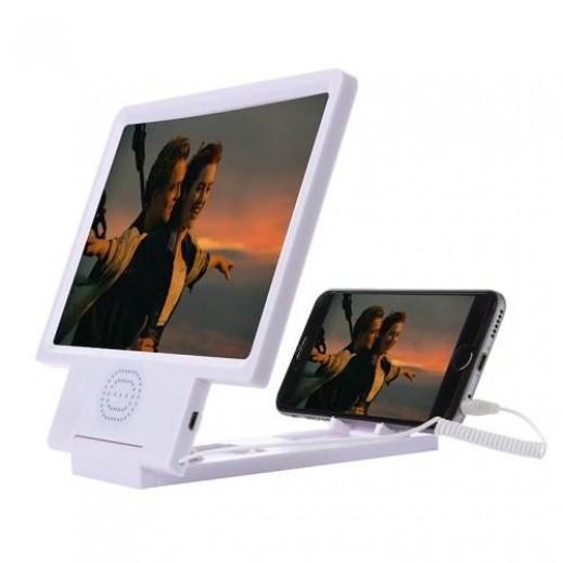 شاشة مكبرة 3D للجوال مع سماعات ابيض