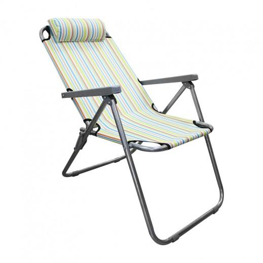كرسي استرخاء قابل للطي بإطار معدني متعدد الألوان