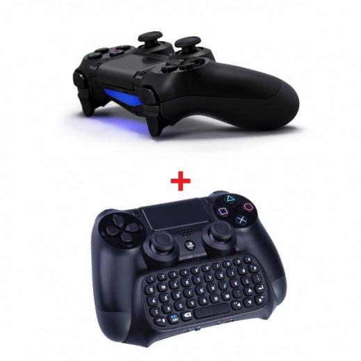 سوني – يد التحكم اللاسلكية Dualshock 4 + لوحة مفاتيح صغيرة لبلاي ستيشن 4 بلوتوث لاسلكية