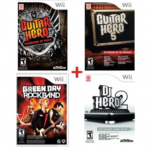حزمة مكونة من Guitar Hero Valen/Guitar Hero Warrior Of Rock/Green Day RockBand/Dj Hero 2 لجهاز Wii - لنظام NTSC