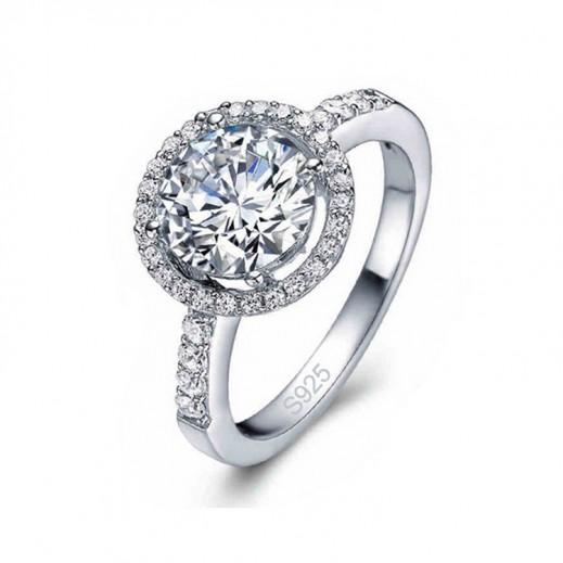 خاتم زفاف فضه 925 بمكعب زركون 4 قيراط (موديل M01131)