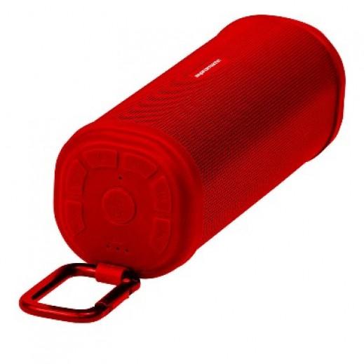 بروميت سماعات لاسلكية تصميم مبسط وجسم قوي مع خاصية التحدث الحر للمكالمات لون احمر