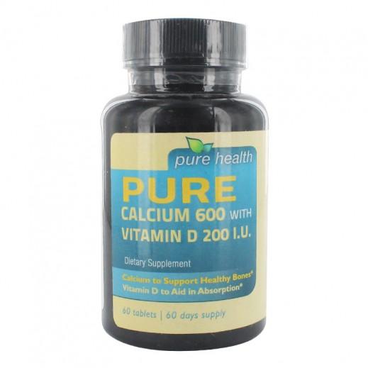 بيور هيلث – مكمل غذائي يحتوي على كالسيوم 600 مع فيتامين D200