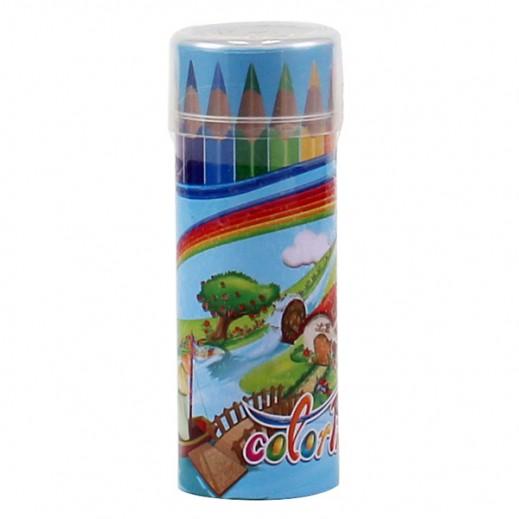 كلاس - طقم أقلام تلوين خشبية ميني في علبة إسطوانية 12 قلم