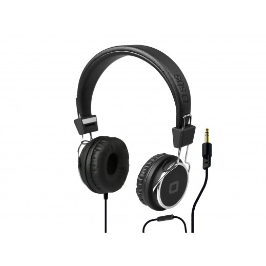SBS سماعات رأس ستيريو فوق الاذن مع مايكروفون - اسود