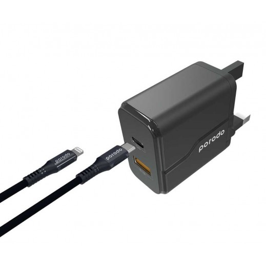 Porodo 2 USB Wall Charger with Type-C to Lightning Cable – Black