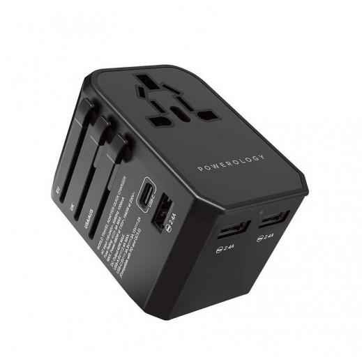 Powerology 45W Universal Travel Adapter - Black