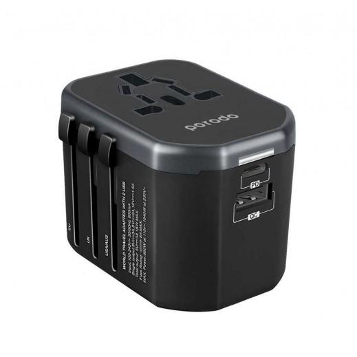 Porodo 18 W 2 USB Universal Travel Adapter  - Black