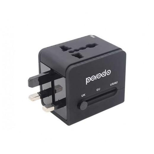 Porodo 2.4A Universal Travel Adapter - Black