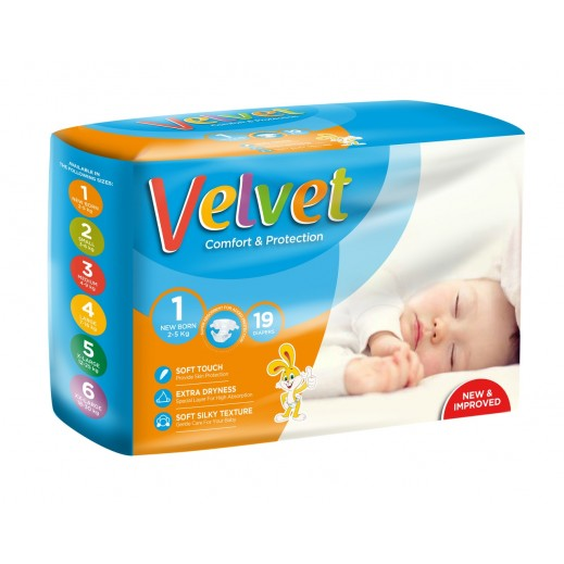 Velvet New Born Stage 1 (2-5 Kg) 19 Pieces