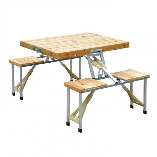 Portable FoldingWooden Camping Table with 4 Seat