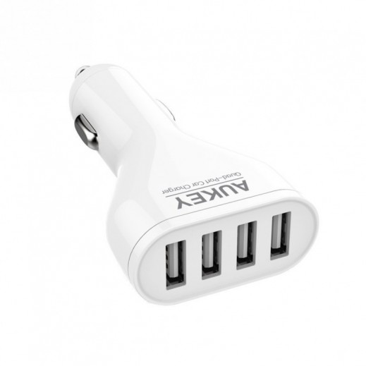 Aukey AiPower Adaptive Charging 4-Port USB Car Charger for Smartphones White CC-01