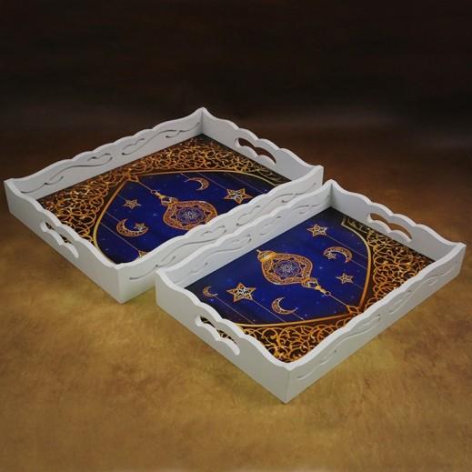 Ramadan Special Wooden Tray Set - 2 Pieces
