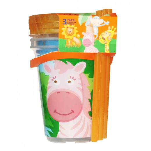 Evenflo Zoo Friend Straw Cup Set Of 3