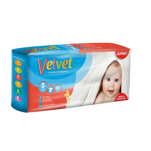 Velvet Medium Stage 3 (4-9 Kg) 40 Pieces