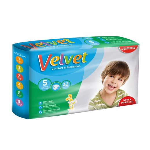 Velvet Xlarge Stage 5 (12-25 kg) 32 Pieces