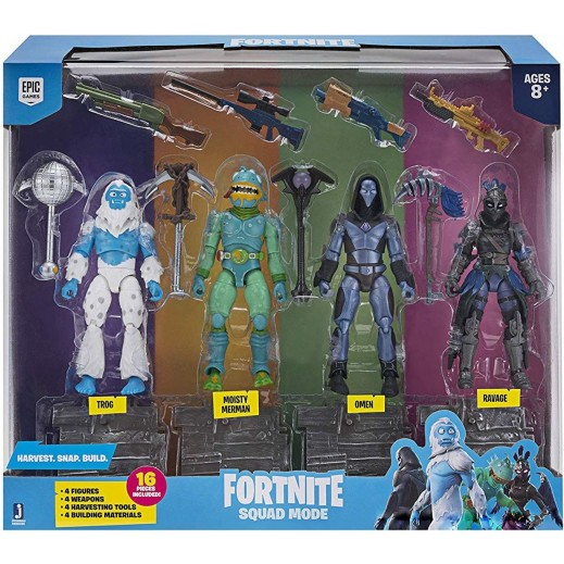 Jazwares Fortnite Series 2 Squad Mode Figure - Ravage, Omen, Moisty Merman & Trog