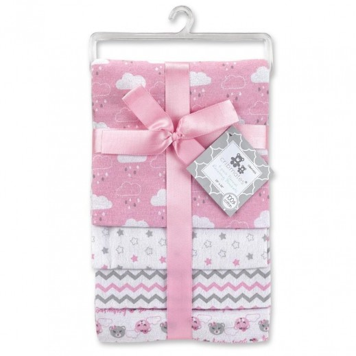 Cribmates Flannel Receiving Blankets 4 Pieces Pink