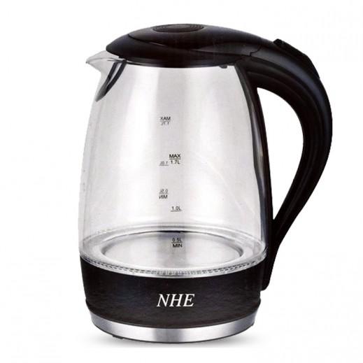 NHE Cordless Glass Jug Kettle 1.7L 2200W - Black